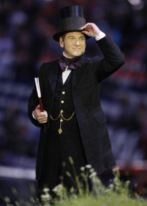 Kenneth Branagh dressed as Isambard Kingdom Brunel and reciting Caliban's speech at the opening ceremony of the 2012 London Olympics