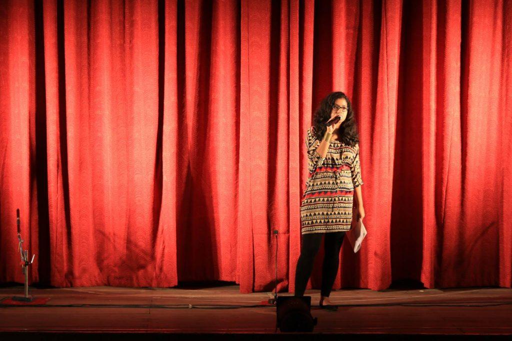 Poulami Nag, introducing the play.