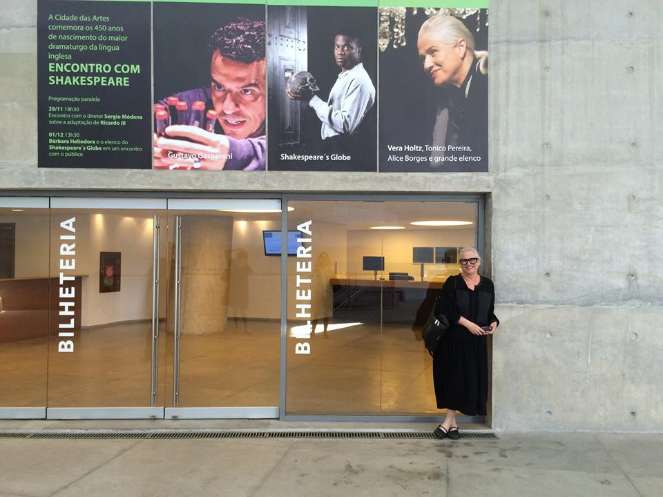 Vera Holtz under billboards for the the Rio Shakespeare Festival at Cidade das Artes - where Timon of Athens was presented alongside the Globe (on its 2014 world tour ) and Gustavo Gasparani's Richard III
